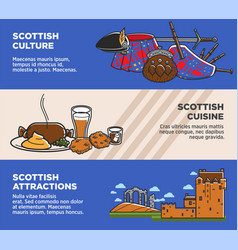 scotland uk travel tourism landmarks and famous vector image