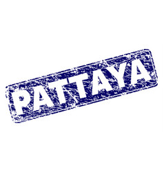 scratched pattaya framed rounded rectangle stamp vector image