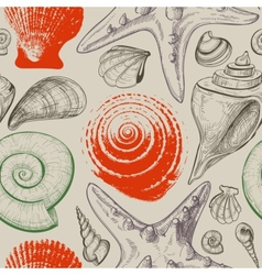 Sea shells retro seamless pattern vector image