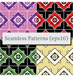 Seamless geometric pattern texture set vector image