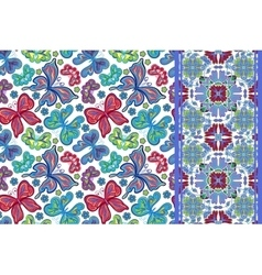 Seamless pattern with colorful vintage butterflies vector