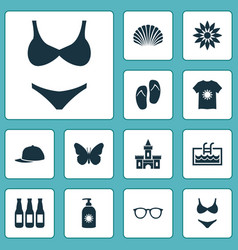 season icons set with sunscreen t-shirt beer and vector image
