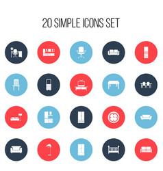 Set of 20 editable furnishings icons includes vector