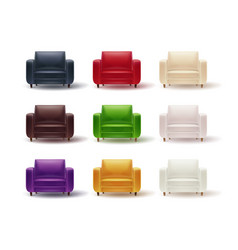 Set of colored armchairs vector