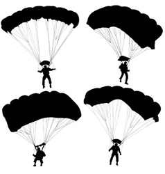 Set skydiver silhouettes parachuting vector