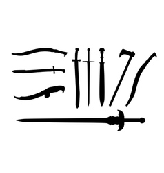 Set the Sword Swords Ax Machete vector