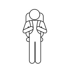 silhouette pictogram male with parachute vector image