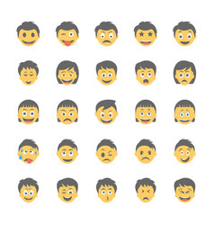 Smiley flat icons set 14 vector