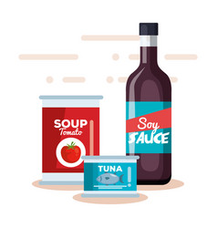 Soy sauce with tomato soup and tuna can vector