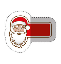 sticker shading banner with face cartoon santa vector image