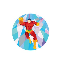 Superhero Running Punching Low Polygon vector