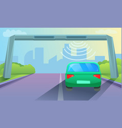Toll road concept background cartoon style vector