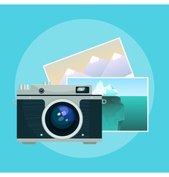 vintage camera and pix vector image