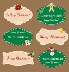 Vintage frames with Christmas decorations vector