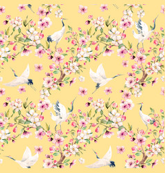 Watercolor crane with flowers pattern vector