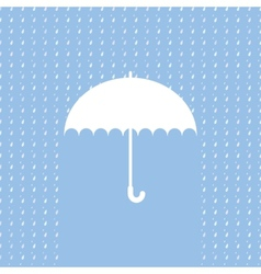White umbrella symbol on blue background vector image
