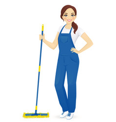 Woman cleaner vector