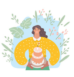 woman is going to eat a huge cake vector image
