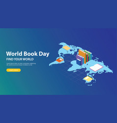 world book day website banner design with world vector image
