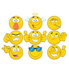 yellow cartoon emoji face collection - 3 vector image