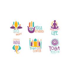 yoga studio logo set healthy life center hand vector image