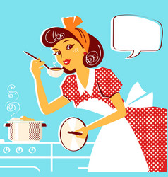 Young portrait of housewife in retro fashion vector