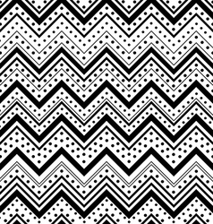 Zig zag seamless pattern with black dots and lines vector image