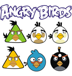 angry birds 6 designs with angry bird text vector image vector image