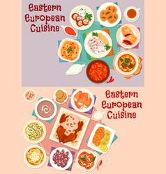 Eastern european cuisine icon set for food design vector