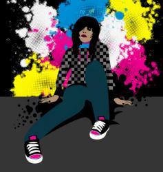 emo girl vector image vector image