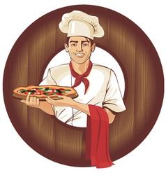 italian pizza cook brunette man vector image