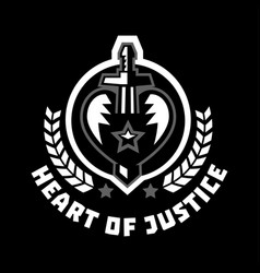 Logo heart of justice the sword piercing the vector