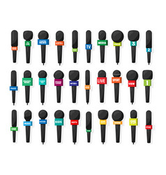 microphonereporter equipment mass media vector image