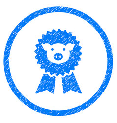 Pig award seal rounded grainy icon vector