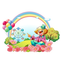 A clown in the carnival with a garden vector image vector image
