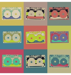 Audiocassette retro popart background Seamless vector image