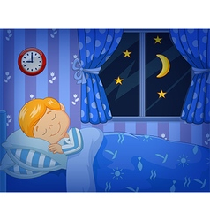 Cartoon little boy sleeping in the bed vector image