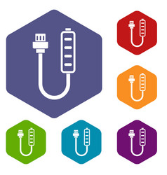Charger icons set hexagon vector