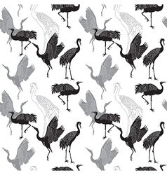 Cranes birds seamless pattern vector image
