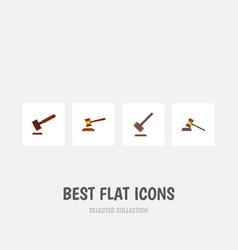 flat icon hammer set of tribunal justice hammer vector image