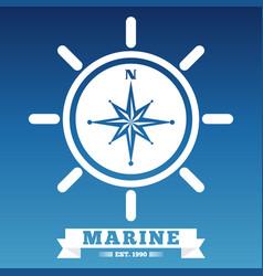 marine emblem design with ship wheel and rose wind vector image