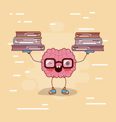 brain cartoon with glasses with books and vector image vector image