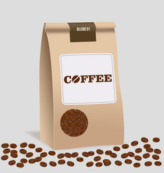 brown paper food bag package of craft coffee vector image vector image