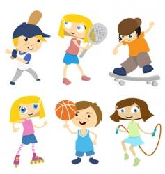 cartoon children playing vector image vector image
