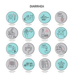 diarrhea icon set vector image vector image