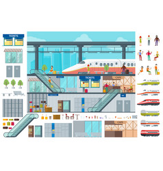 flat train station infographic concept vector image