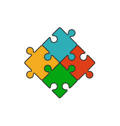 four piece puzzle flat line icon vector image vector image