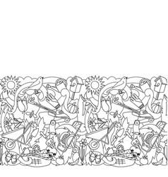 garden coloring seamless border vector image vector image