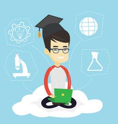 Graduate sitting on cloud vector