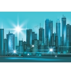 Modern night city skyline at night vector image